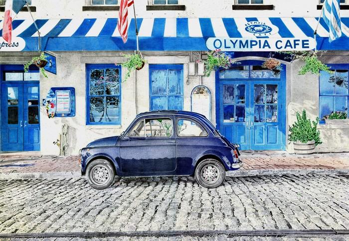 Fiat 500 Рисунок, Рисунок ручкой, Шариковая ручка, Арт, Авто, Fiat, Fiat 500