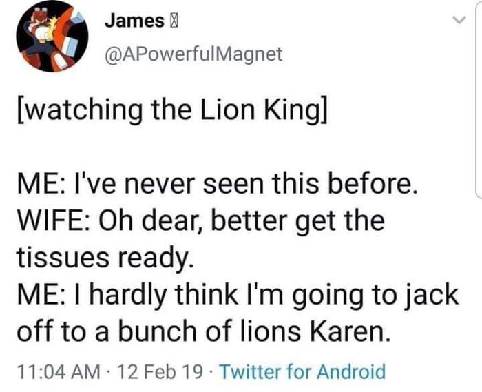 Как знать, как знать... Король Лев, Мультфильмы, Просмотр, Жена, Муж, Салфетки, Слезливая сцена, Twitter