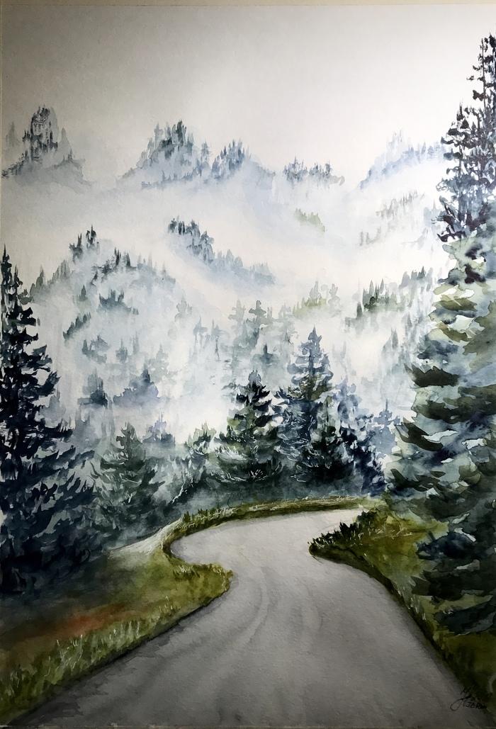 Туманный пейзаж акварелью