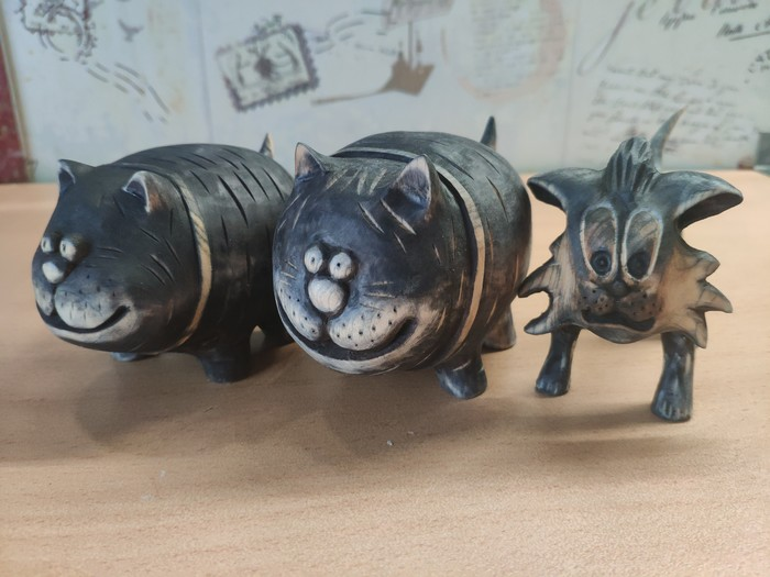 Котаны) Всем привет! Вот и сделал ещё 3 котеек) один правда тощий вышел, косяки с деревом не дали родится ещё одному упитанному котану) Кот, Поделки, Резьба по дереву, Своими руками, Статуэтка, Ручная работа