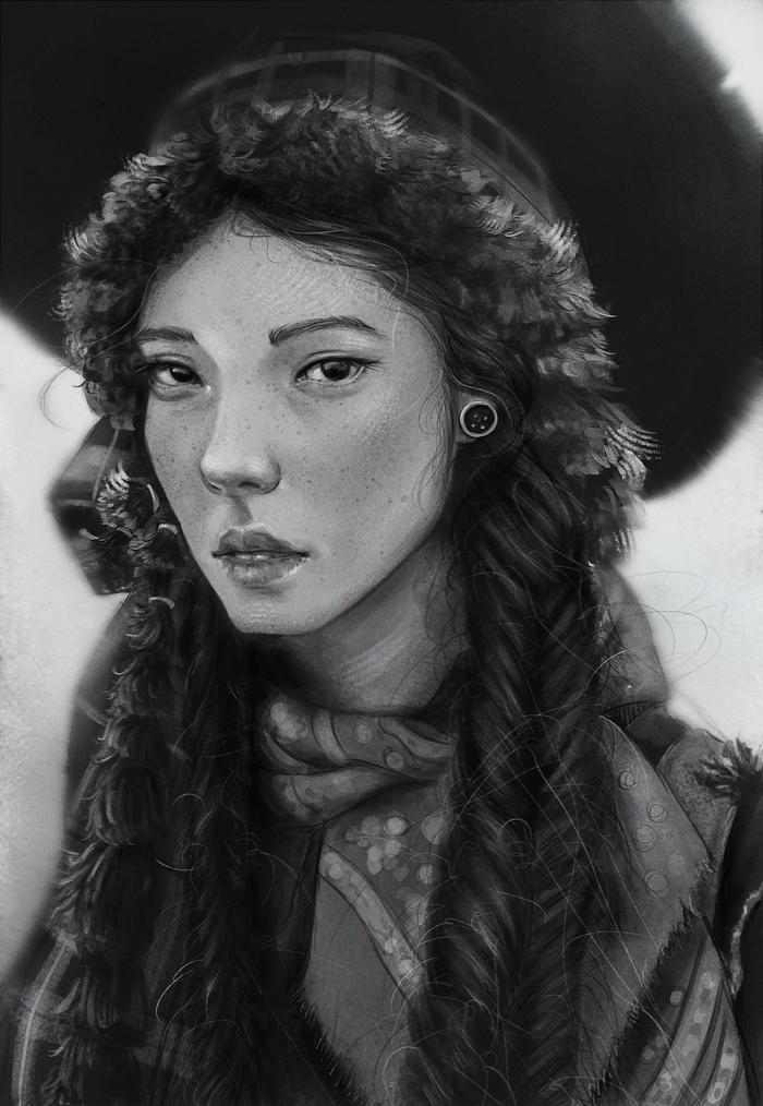 Портрет девушки Рисунок, Портрет, Девушки, Цифровой рисунок, Видео, Krita, Процесс рисования