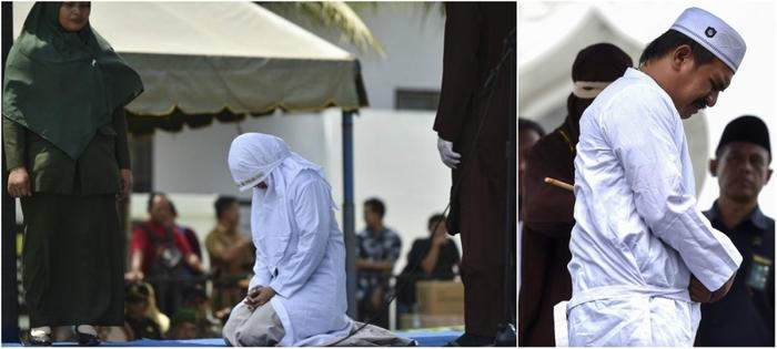 Шесть неженатых пар прилюдно отлупили палками в Индонезии Индонезия, Суматра, Наказание, Порка, Шариат, Длиннопост, Религия, Ислам