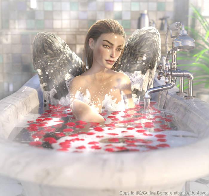 Even angels loves bubblebaths Deviantart, Арт, Игры, Цифровой рисунок, Фэнтези, Tombraider4ever