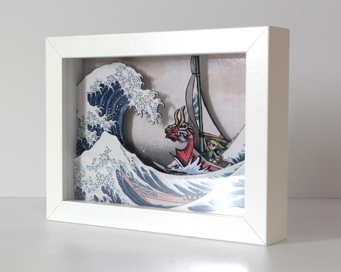 Диорама The Great Wave off Kanagawa with Link Диорама, Своими руками, Link, Большая волна в Канагаве, Длиннопост, Рукоделие без процесса