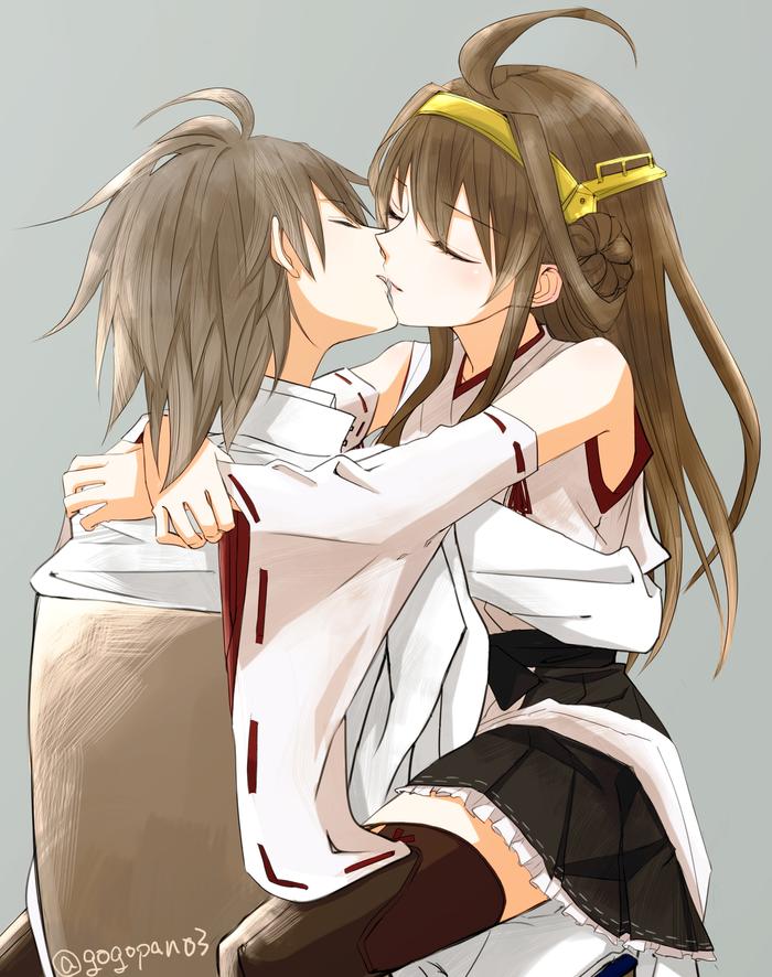 Kongou and Admiral Аниме, Anime Art, Kantai Collection, Kongou, Teitoku, Поцелуй