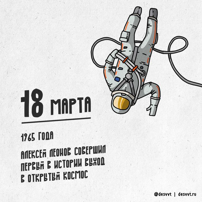 (109/366) 18 марта состоялся первый выход космонавта в открытый космос Проекткалендарь2, Рисунок, Иллюстрации, Космос, Леонов, Выход в космос, Время, Космонавт