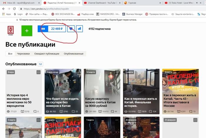 Сколько стоят наши посты Китай наизнанку, Яндекс, Яндекс Дзен, Длиннопост, Реклама