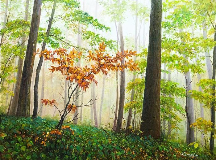 Ползут по деревьям туманы Живопись, Искусство, Картина, Лес, Природа, Интерьер, Декор