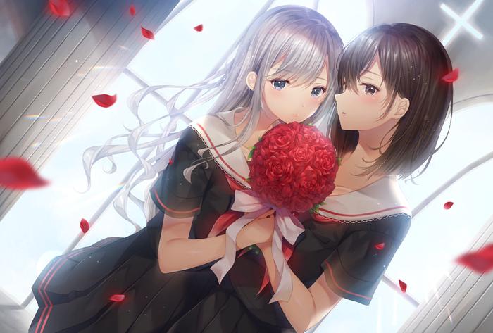 [Art] Yuri Аниме, Anime Art, Anime Original, Yuri, Sailor uniform, Uniform