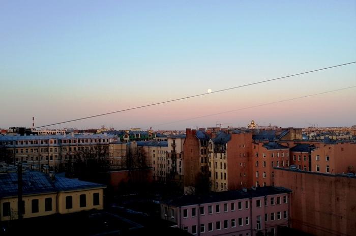 Утренняя питерская Луна катится куда-то по проводам