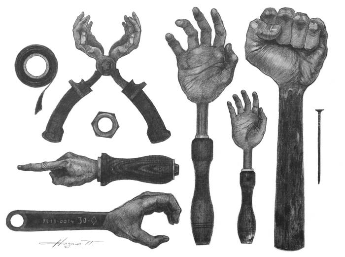 Набор ручного инструмента. Рисунок, Рисунок карандашом, Инструменты, Графика, Руки, Гаечный ключ