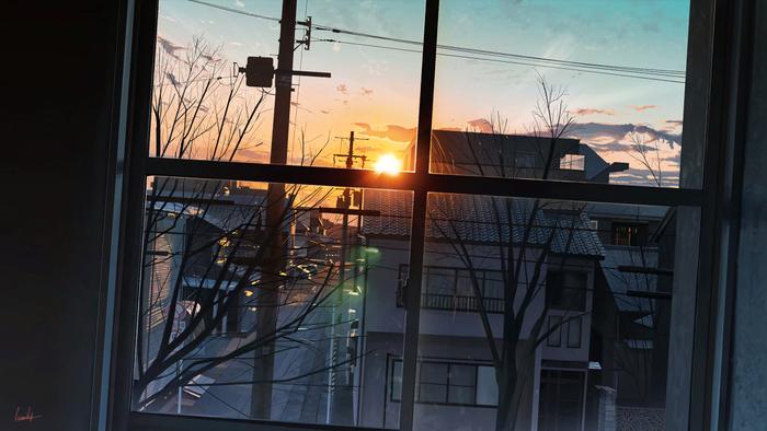 [Art] Вид из окна Арт, Закат, Вид из окна, Рисунок, Banishment