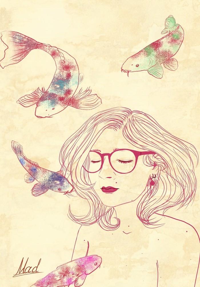 Автопортрет Цифровой рисунок, Портрет, Длиннопост, Рисунок, Автопортрет, Девушки, Рыба