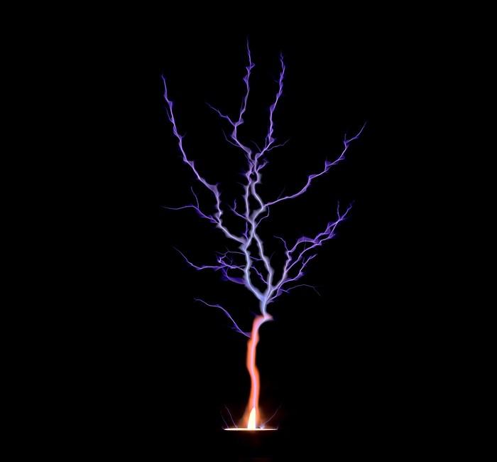 Молния ударяющая в свечу Свеча, Искры, Молния, Горение, Ночная съемка, Фотография