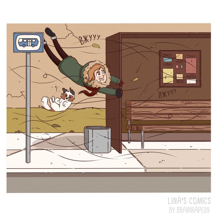 LINA'S COMICS #24 - весенний ветерок Комиксы, Linascomics, Авторский комикс, Юмор, Погода, Ветер, Страна оз, Длиннопост