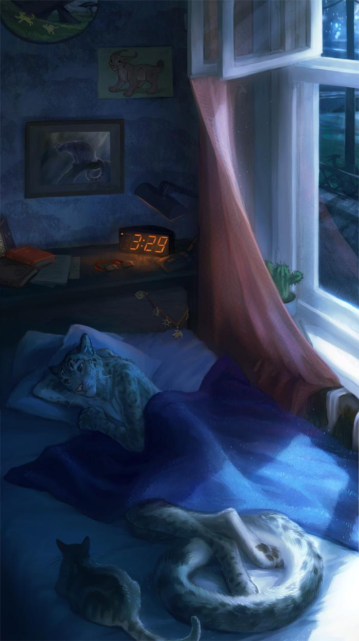 Insomnia Фурри, Furry Art, Furry Feline, Furry snow leopard, Кот, Ночь, Бессонница, Tomatocoup