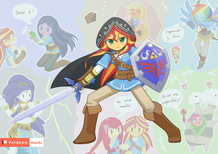 Sunset Link My Little Pony, Equestria Girls, Sunset Shimmer, Mane 6, Crossover, The Legend of Zelda, Breath of the Wild, Howxu