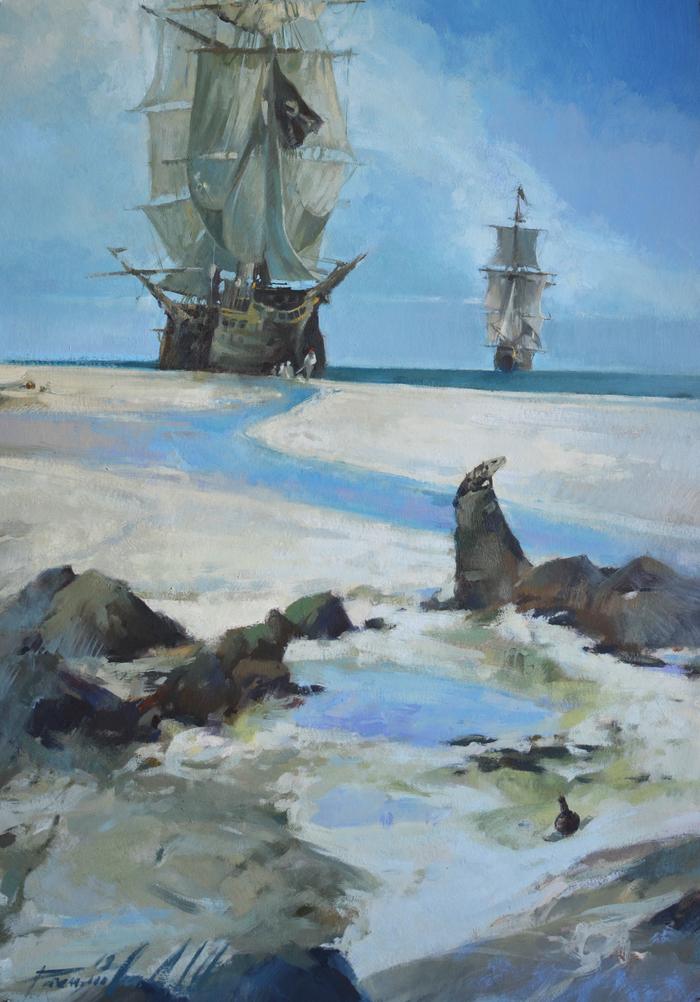 """""""Остров Ящериц"""" 2019 Море, Картина маслом, Рахимова, Гульсина, Ящерица, Пираты, Корабль"""