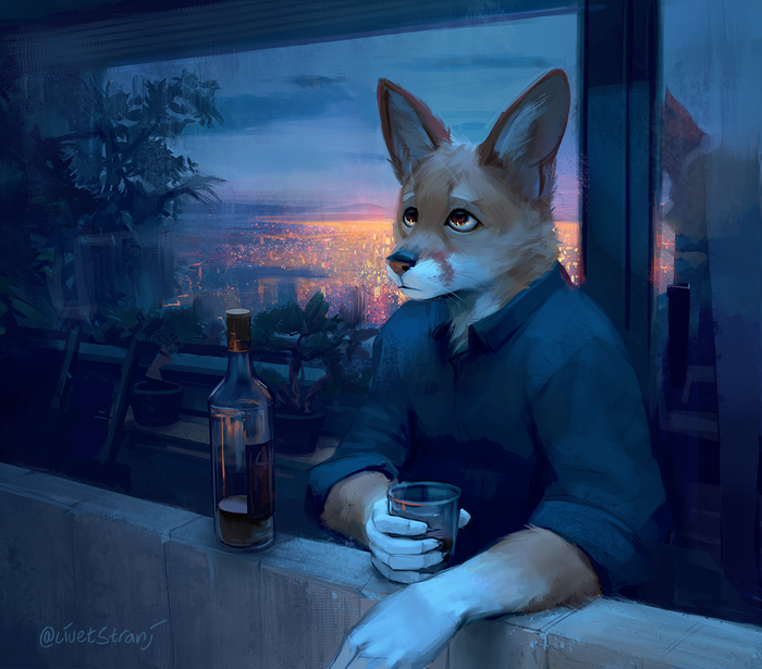Some nights you just can't sleep Фурри, Furry Art, Furry Fox, Ночь, Алкоголь, Бессонница, Strange-Fox
