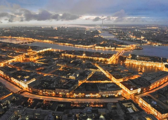 Вечерний Питер Санкт-Петербург, Фотография, Дрон, Квадрокоптер, Аэросъемка