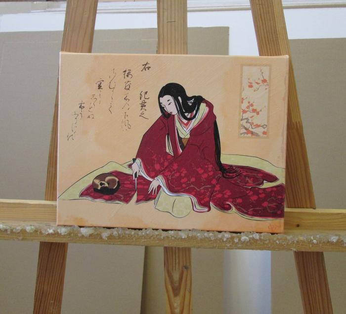 """Реплика старинной японской гравюры """"Женщина отрезает подол кимоно, чтоб случайно не разбудить кошку"""" Искусство, Картина с историей, Кот, Япония, Фотография, Хокку"""