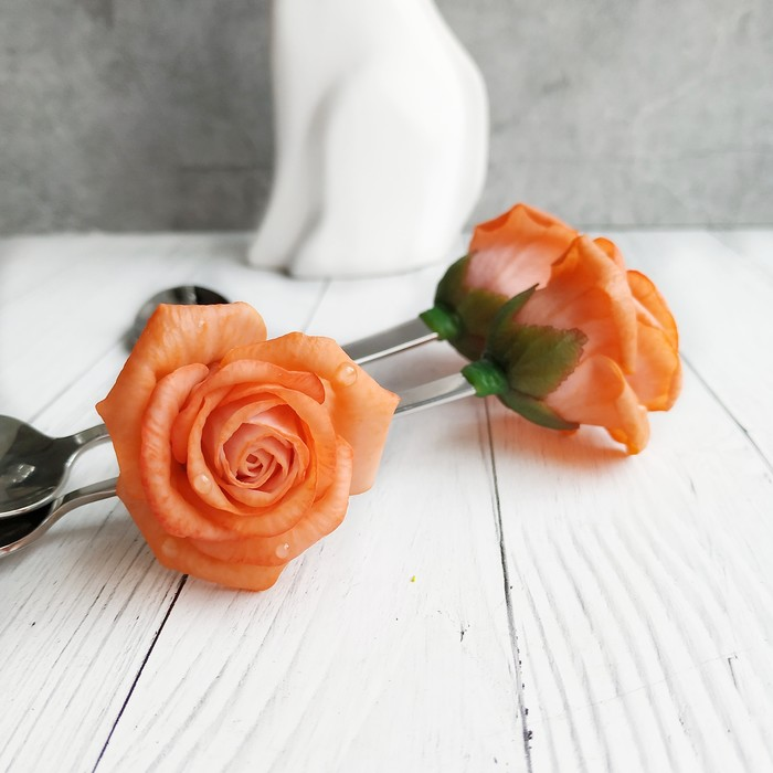 Ложки с розами из полимерной глины. Рукоделие без процесса, Декор ложек, Полимерная глина, Длиннопост