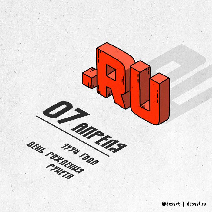 (129/366) 7 апреля началась история рунета Проекткалендарь2, Рисунок, Иллюстрации, Рунет, Точка ру