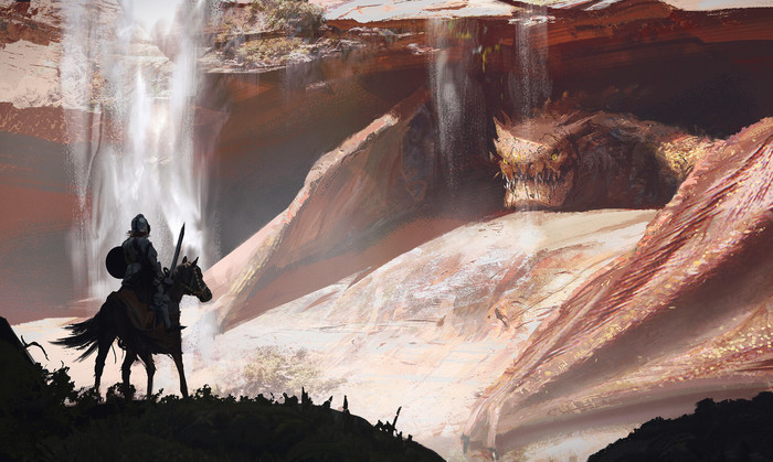 Охота на дракона Арт, Рисунок, Дракон, Рыцарь, Martin Parker