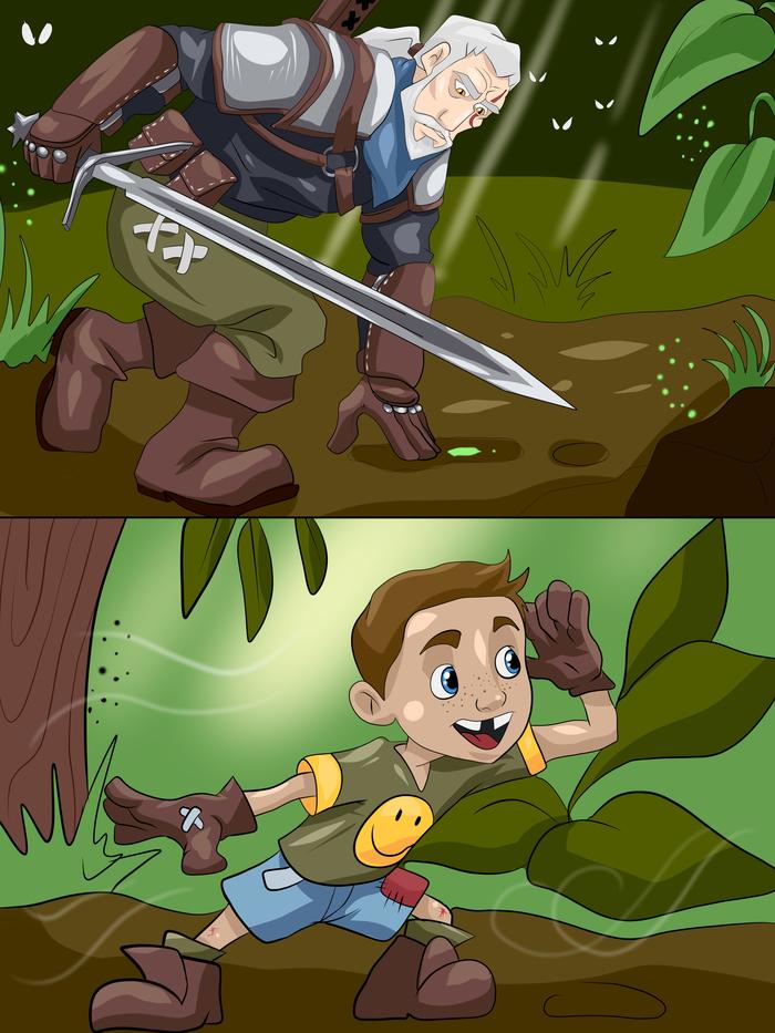 Ты тоже был крутым охотником на чудовищ, в детстве? Детство, Ностальгия, Детские игры, Комиксы, Ведьмак, Длиннопост