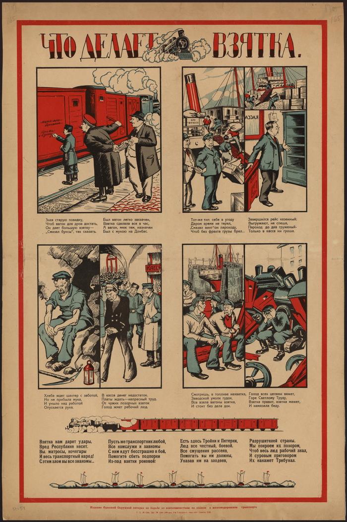 """""""Что делает взятка"""", РСФСР, 1922 год. Плакат, СССР, Взятка, Транспорт, Железная Дорога, Коррупция, Наказание, Не надо так"""