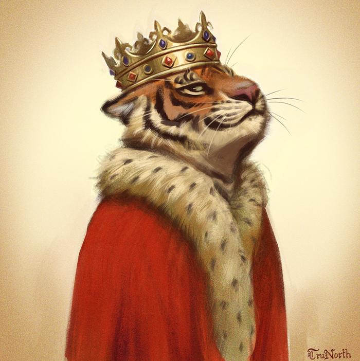 Feeling Smug Фурри, Furry Art, Furry Feline, Furry Tiger, Король, Корона, Мантия, Trunorth