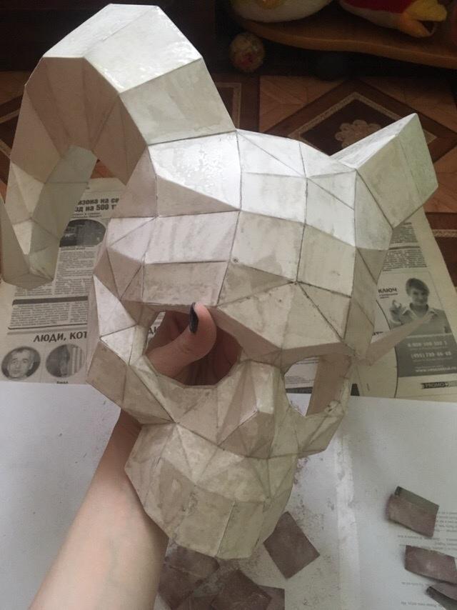Маска рогатого монстра Pepakura, Papercraft, Длиннопост, Маска, Ручная работа, Бумага