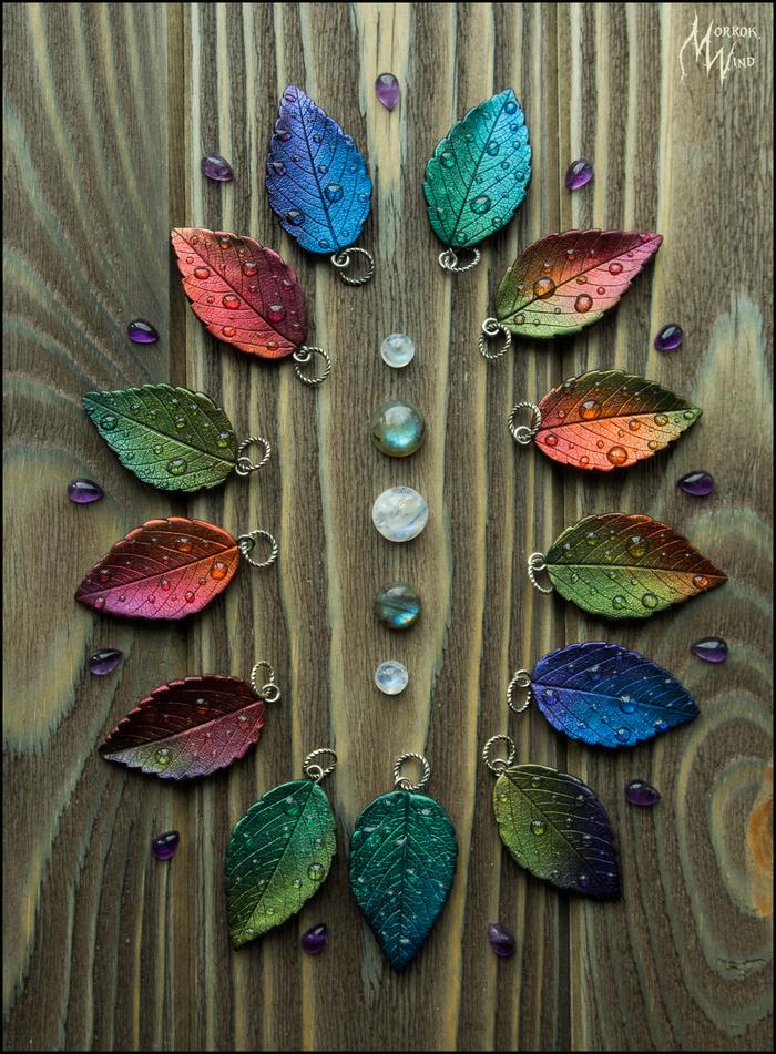 Кулоны-листочки с росой из полимерной глины Рукоделие без процесса, Своими руками, Полимерная глина, Листья, Кулон, Длиннопост