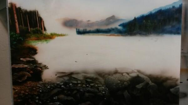 Творчества порыв Аэрография, Акрил, Пейзаж, Озеро, Горы, Творчество, Картина, Длиннопост
