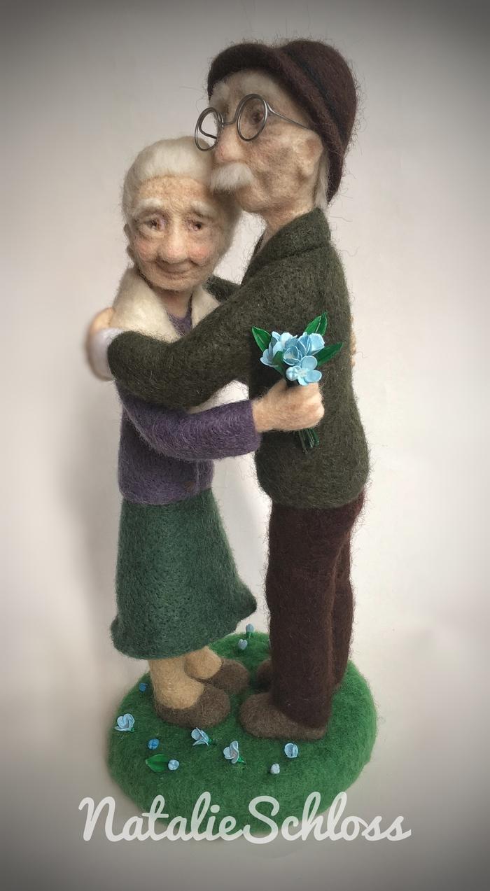 Бабушка рядышком с дедушкой. Бабушка, Дед, Сухое валяние, Старость, Любовь, Рукоделие без процесса, Длиннопост