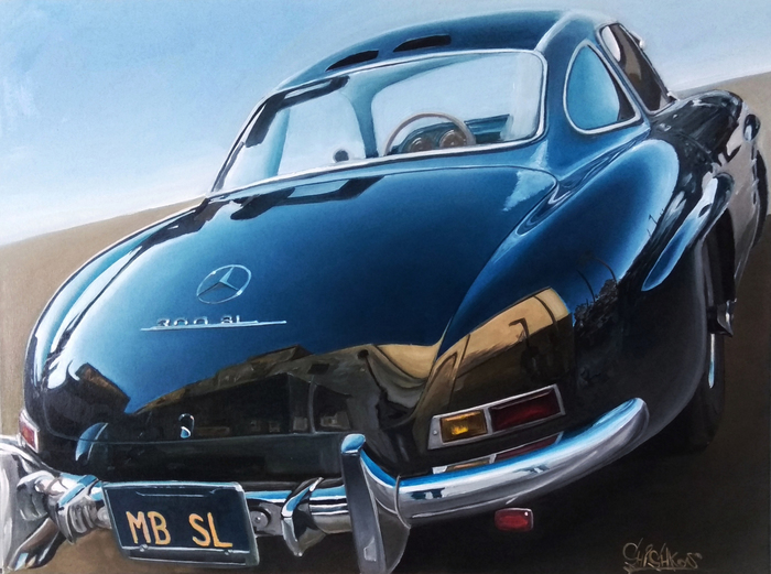 MY OIL PAINTING MERCEDESBENZ 300SL (w198)  SIZE 60*80см 300sl, Картина маслом, Масло, Автомобильная классика, Авто, Мерседес, Фотореализм, Картина