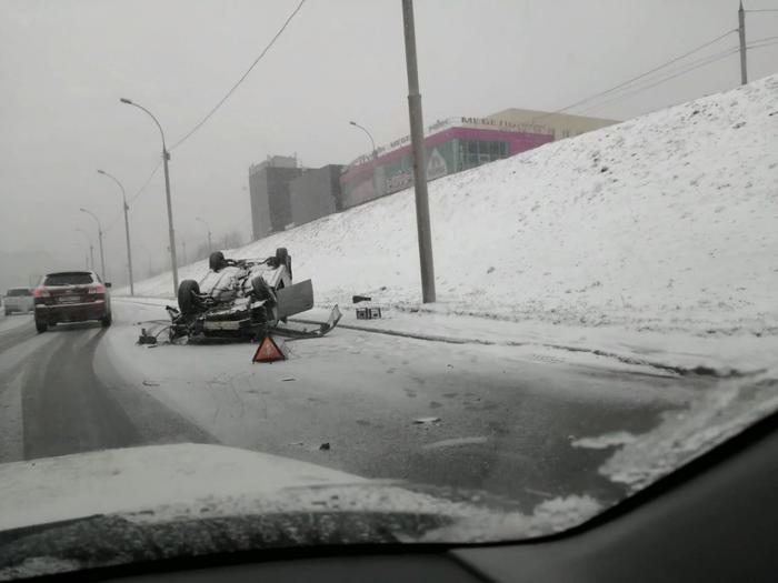 Бесконечное число аварий: пробки достигли 10 баллов [Новосибирск] Новосибирск, ДТП, Снег, Авария, Дорожная пробка, Длиннопост