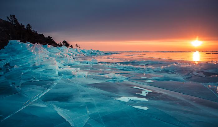 Рассвет на озере Байкал Фотография, Рассвет, Байкал, Красота природы, Лед