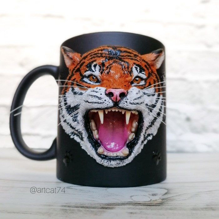 Кружка с тигром из полимерной глины Кружка с декором, Полимерная глина, Тигр, Подарок, Кружка