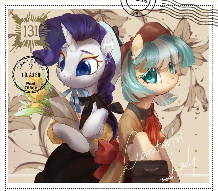 Открытка My Little Pony, Rarity, Coco Pommel, Tingsan