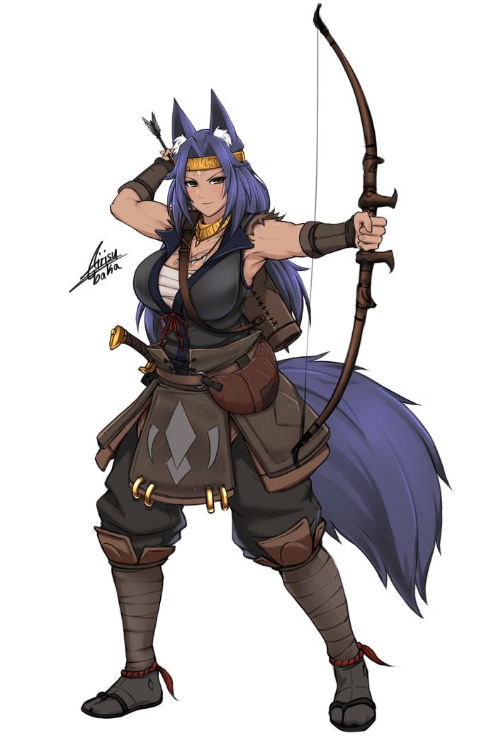 Lythra Airisubaka, Арт, Крепкая девушка, Monster Girl, Аниме, Anime Art, Воительница, Фэнтези