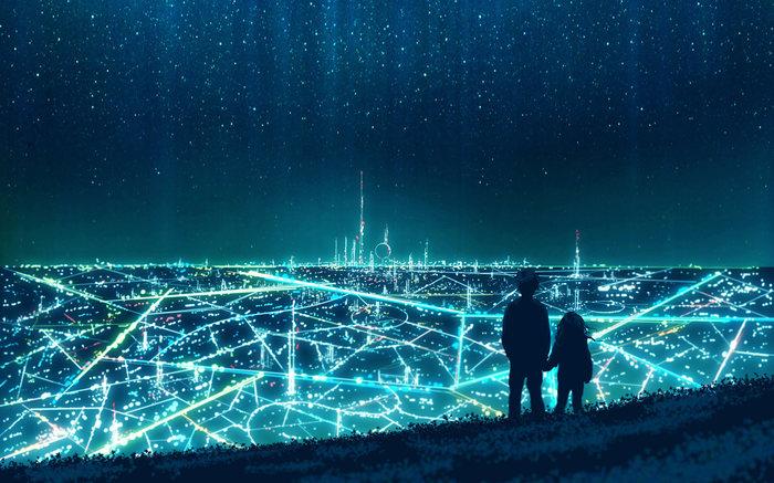 Пара на фоне огромного города