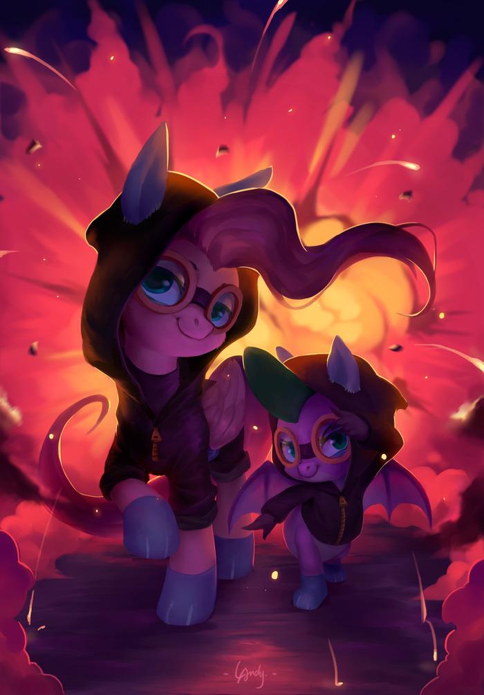 Double The Badassitude My Little Pony, Ponyart, Fluttershy, Spike, MLP Season 9, La-Ndy