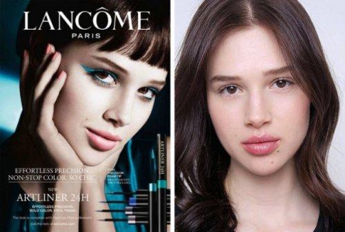 Как на самом деле выглядят лица косметических брендов без макияжа и фотошопа. Макияж, Длиннопост, Красота
