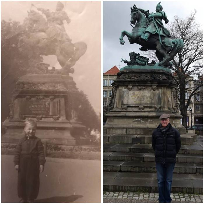 Мой дедушка возле памятника польскому королю Яну III Собескому в 1949 во Львове и сейчас, в 2019 году в Гданске Фотография, Сравнение, Гданьск, Львов, Украина