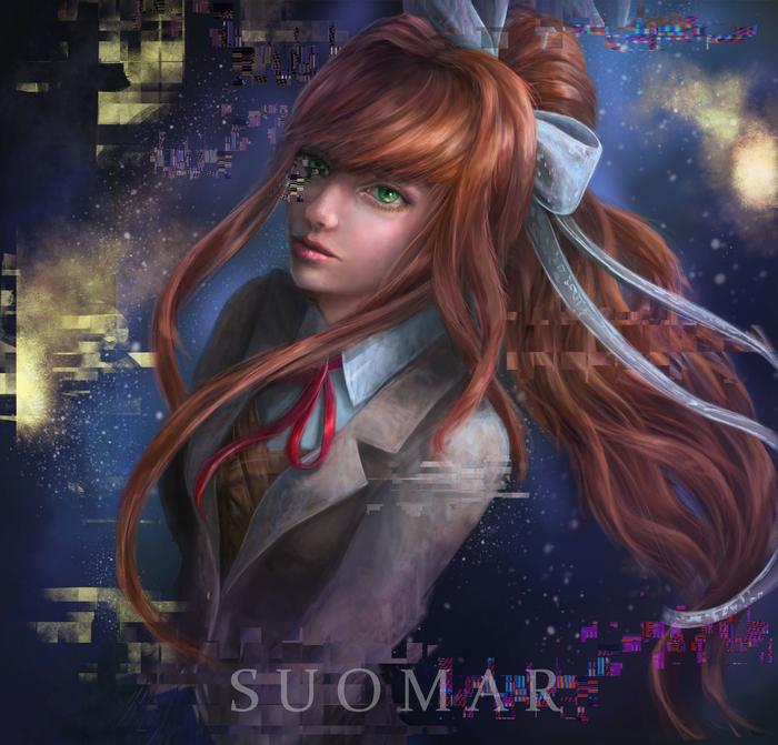 Just Monika Doki Doki Literature Club, Anime Art, Визуальная новелла, Арт, Monika