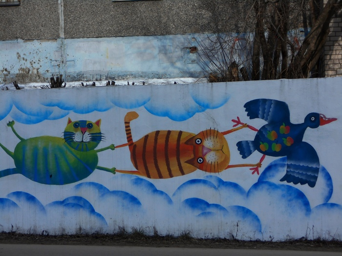 Граффити (так же как и стрит-арт) должны украшать стены, а не уродовать их #95 Уличная живопись, Граффити, Стрит-Арт, Кот, Череповец, Котята, Длиннопост