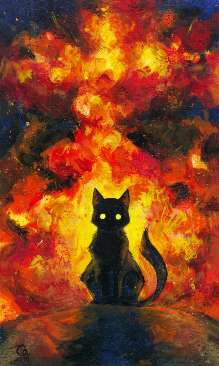 Котик и взрыв Арт, Рисунок, Первый пост, Акрил, Кот, Взрыв, Роспись, Длиннопост
