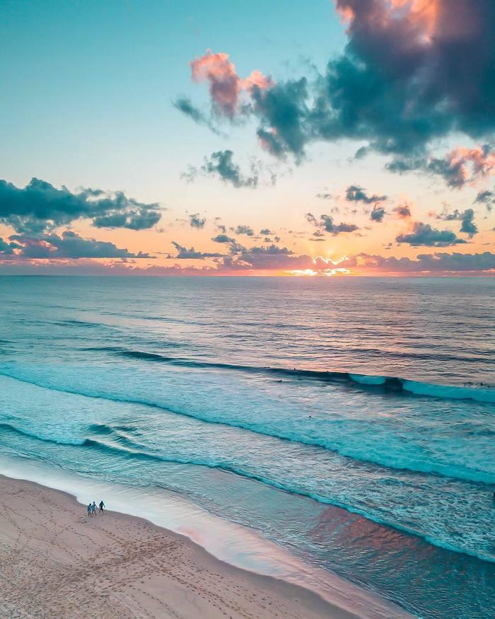 Пляж Меревезер и Тасманово море. Австралия Merewether, Австралия, Тасманово море, Квадрокоптер, Вид с высоты, Длиннопост