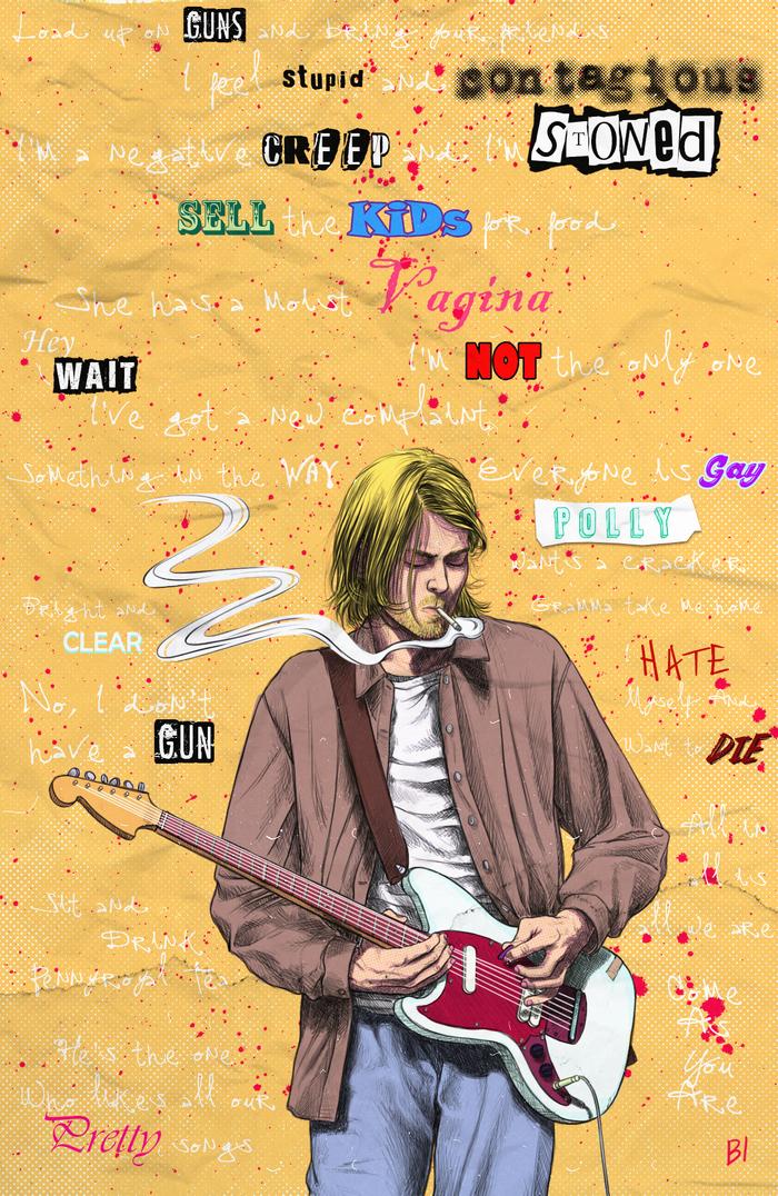 """Kurt Smells Like Teen Spirit"" -Kathleen Hanna Арт, Курт Кобейн, Гранж, Nirvana, Цифровой рисунок, Длиннопост, Рисунок, Smells Like Teen Spirit, Музыканты"